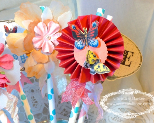 Garden Party Straws 4 for Lovebug Creations by Christine Barker
