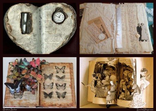 ScarletCalliope 4 up altered books